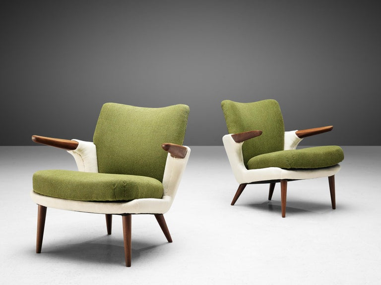 Danish Pair of Rare Easy Chairs by Ib Kofod-Larsen For Sale