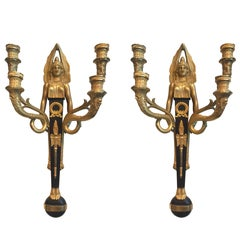 Pair of Rare Egyptian Revival Sconces