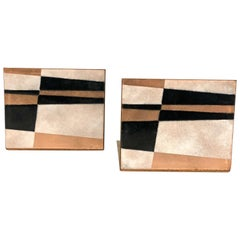 Pair of Rare Enamel on Copper Bookends by Robert Wuersch Geometric Design