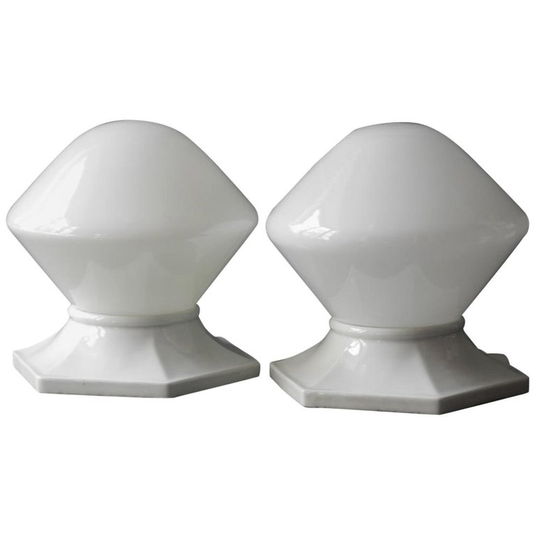 Pair of Rare Extra Large Mid-Century Modern Glass Ceramic Ceiling Lamps For Sale