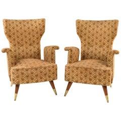 Pair of Rare Form Italian Midcentury Armchairs