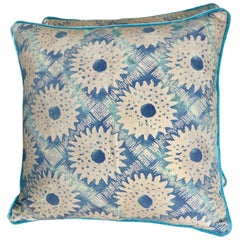 Pair of Rare Fortuny Sunflower Patterned Pillows