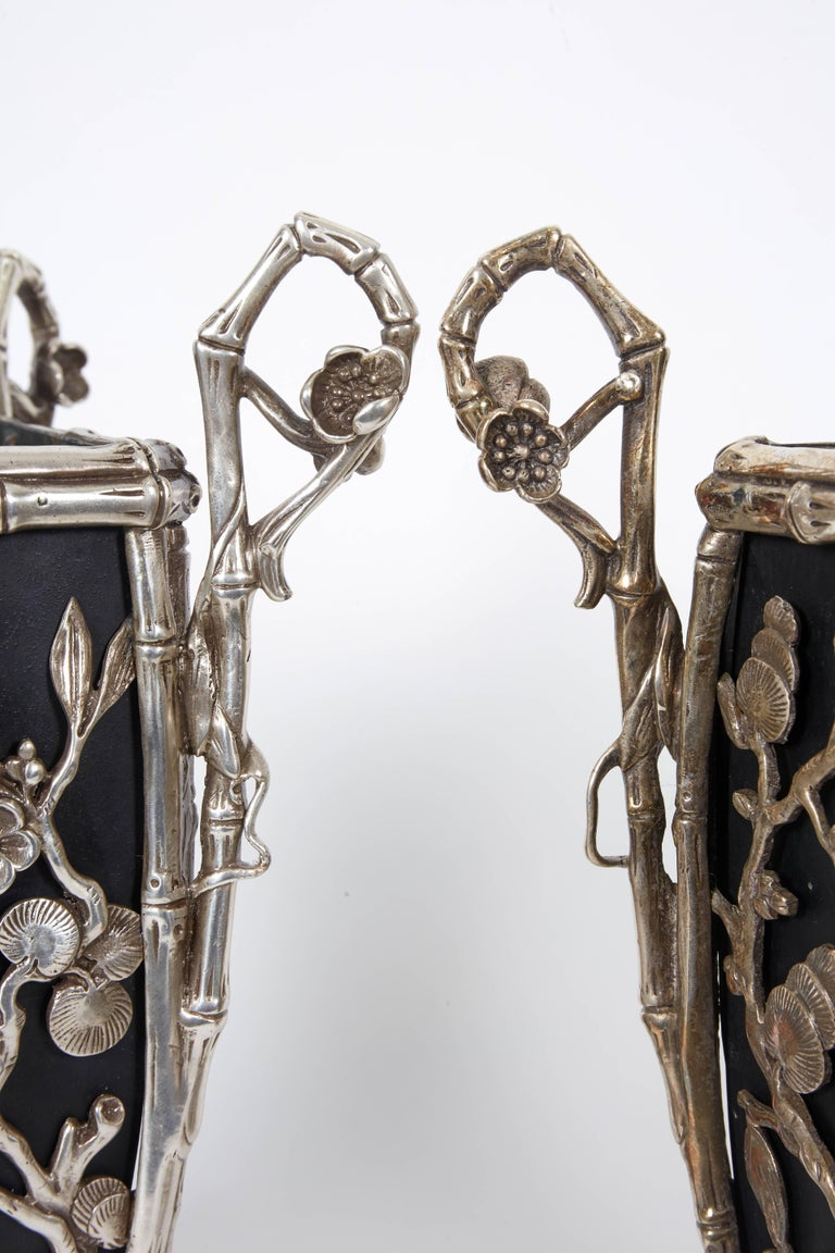 Pair of Rare French Japonisme Silvered Bronze Cachepots or Vases For Sale 2