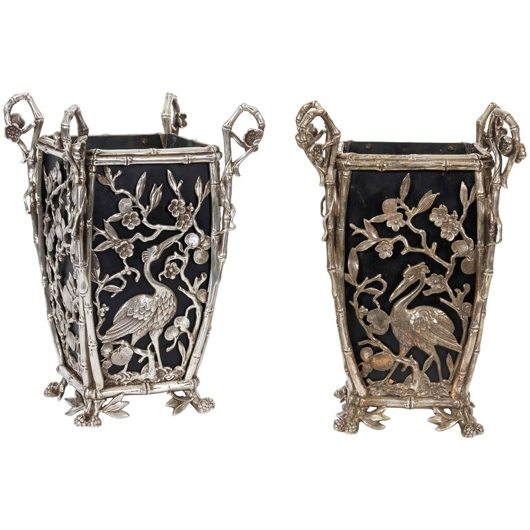 Pair of Rare French Japonisme Silvered Bronze Cachepots or Vases For Sale
