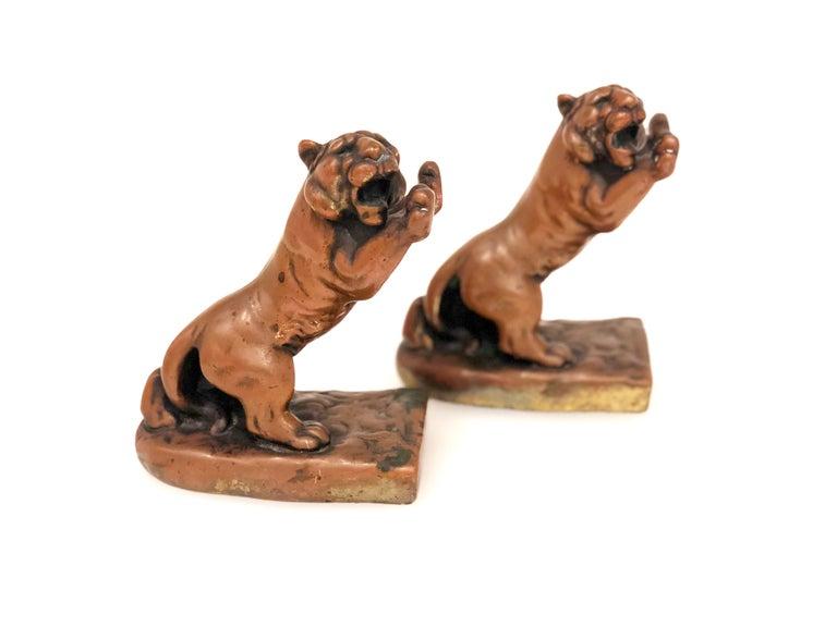 Neoclassical Pair of Rare Galvano Bronze Roaring Tiger Bookends circa 1920s For Sale