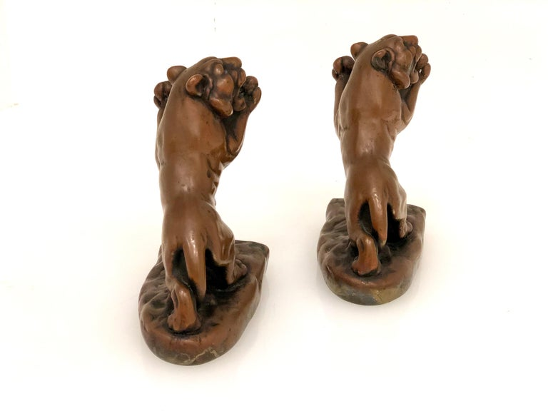 American Pair of Rare Galvano Bronze Roaring Tiger Bookends circa 1920s For Sale