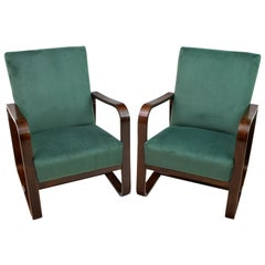 Pair of Rare Giuseppe Pagano & Gino Maggioni Bentwood Armchairs, 1940s