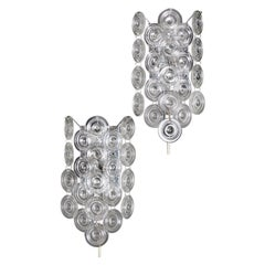 Pair of Rare Glass and Nickel Wall Sconces by Sciolari, Italy, circa 1970s
