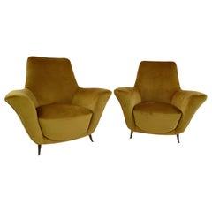 Pair of Rare Gold Ico & Luisa Parisi Armchairs by Isa, 1952