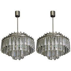 Pair of Rare Heavy Cut Glass and Strass Chandeliers by Palwa, circa 1960s