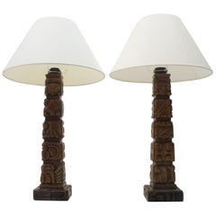 Pair of Rare Hand Carved Wooden Table Lamps from Temde, Switzerland, 1960s