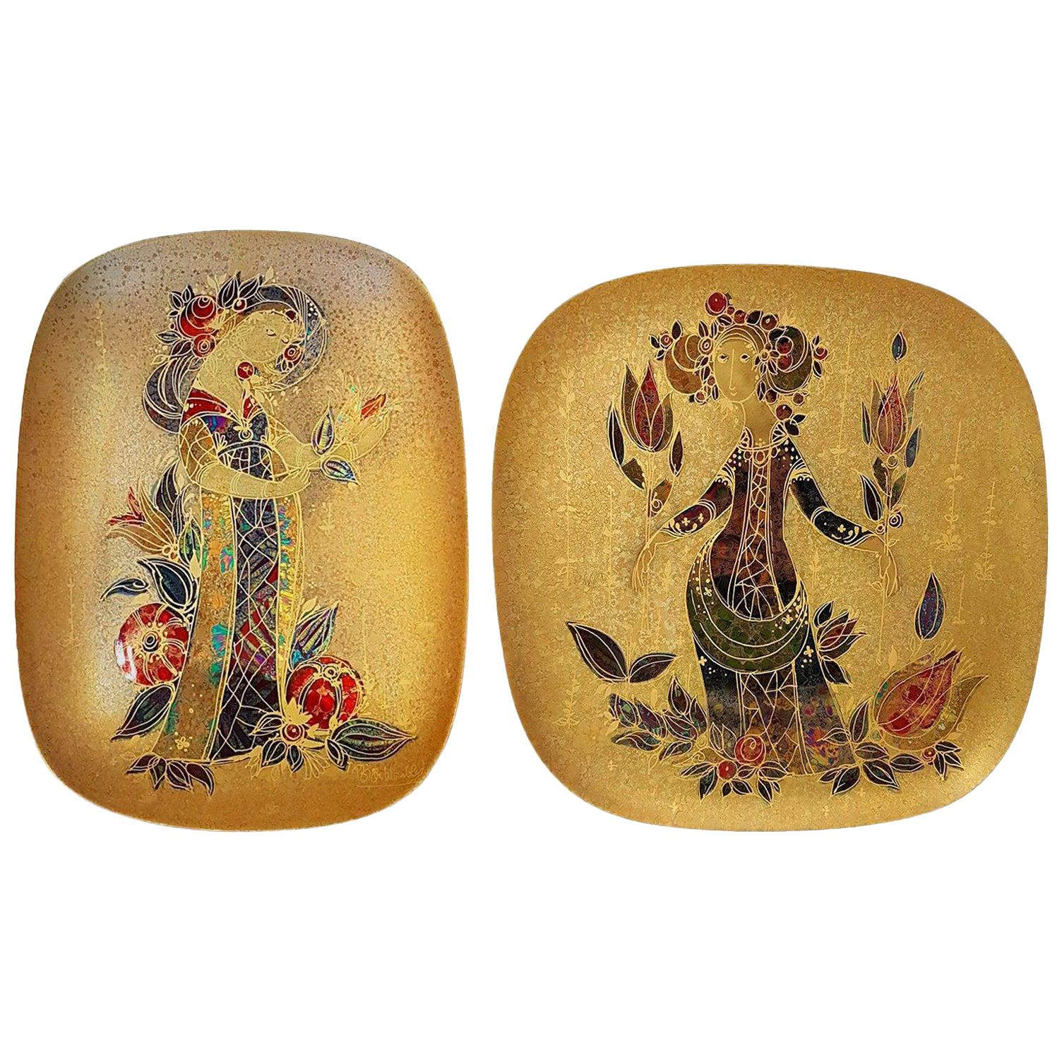 Pair of Rare Hand Painted Gilded Platter by Bjørn Wiinblad, 1960s
