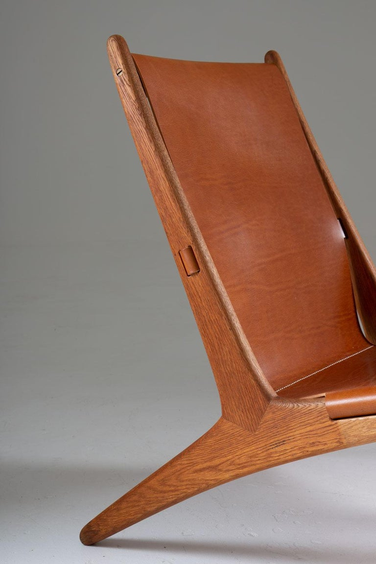 Leather Pair of Rare Hunting Chairs 204 by Uno & Östen Kristiansson for Luxus, Sweden For Sale