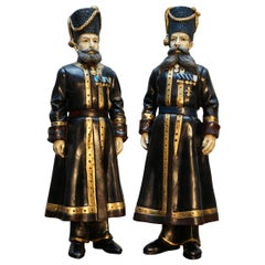 Pair of Rare Important Statues Signed Faberge 1912 Russian Kamer Kazak Bodyguard