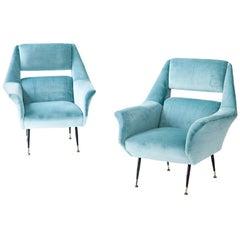 Pair of Rare Italian Turquoise Velvet Lounge Chairs by Gigi Radice for Minotti