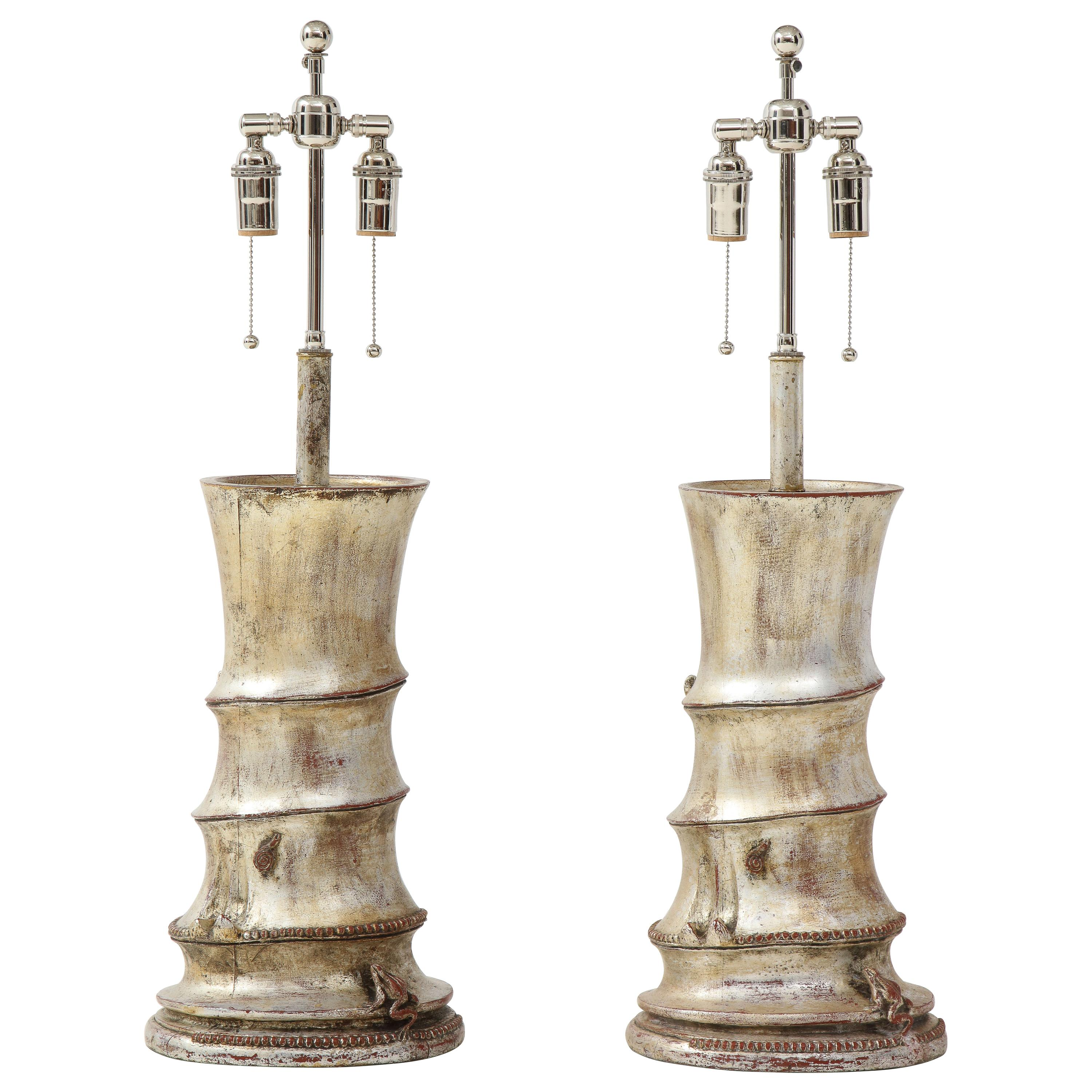 Pair of Rare James Mont Bamboo Lamps