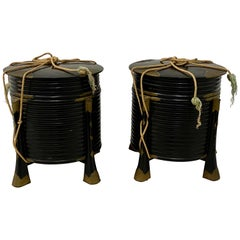 Pair of Rare Japanese Samurai Helmet Boxes, circa Mid-19th Century