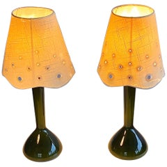 Pair of Rare Kastrup Holmegaard Green Glass Table or Nightstand Lamps, Signed