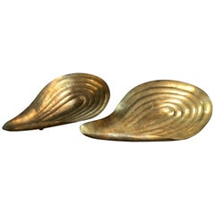 Pair of Rare Large Clam Shaped Brass Bowl, Italy, 1940s
