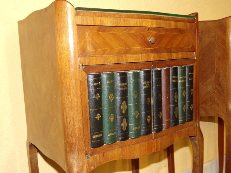 Veneer Pair of Rare Louis XV Style Bedside Cabinets For Sale