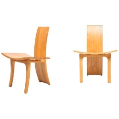 Pair of Rare Lounge Chairs in Ash Designed by Cabinetmaker Walther Nielsen, 1960