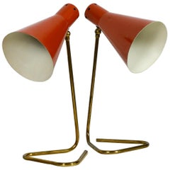 Pair of Rare Mid-Century Modern Large Brass Table Lamps with Brick Red Shades