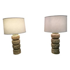 Pair of Rare Midcentury Brutalist Signed Lamps by Quartite Creative Corp.