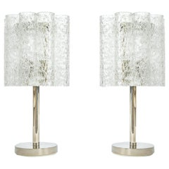 Pair of Rare Murano and Chrome Table Lamps Designed by Doria, Germany, 1970s