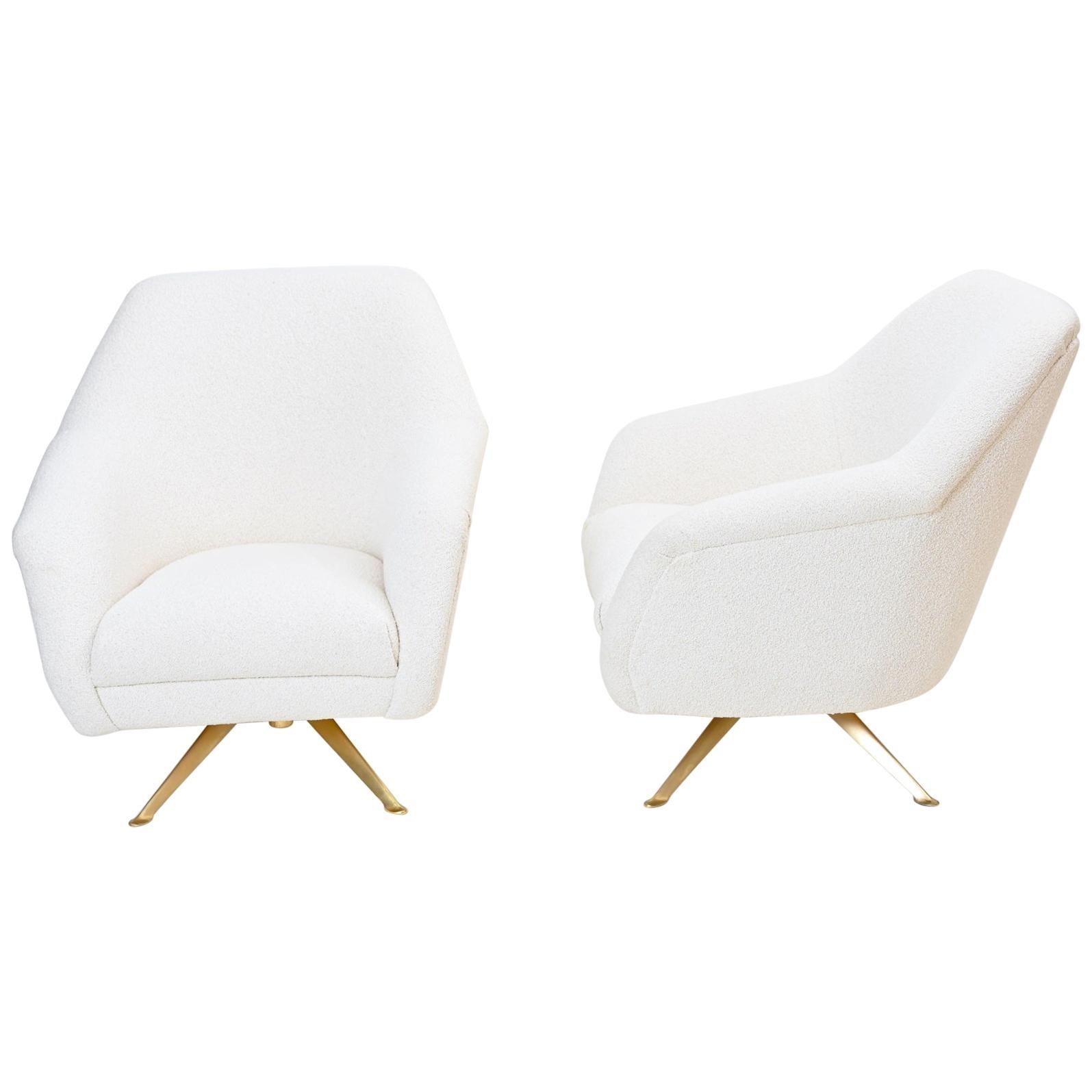 Pair of Rare Osvaldo Borsani Swivel Lounge Chairs, circa 1951