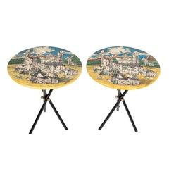 """Pair of Rare Piero Fornasetti """"Città Di Carte"""" Side Tables, circa 1950s"""