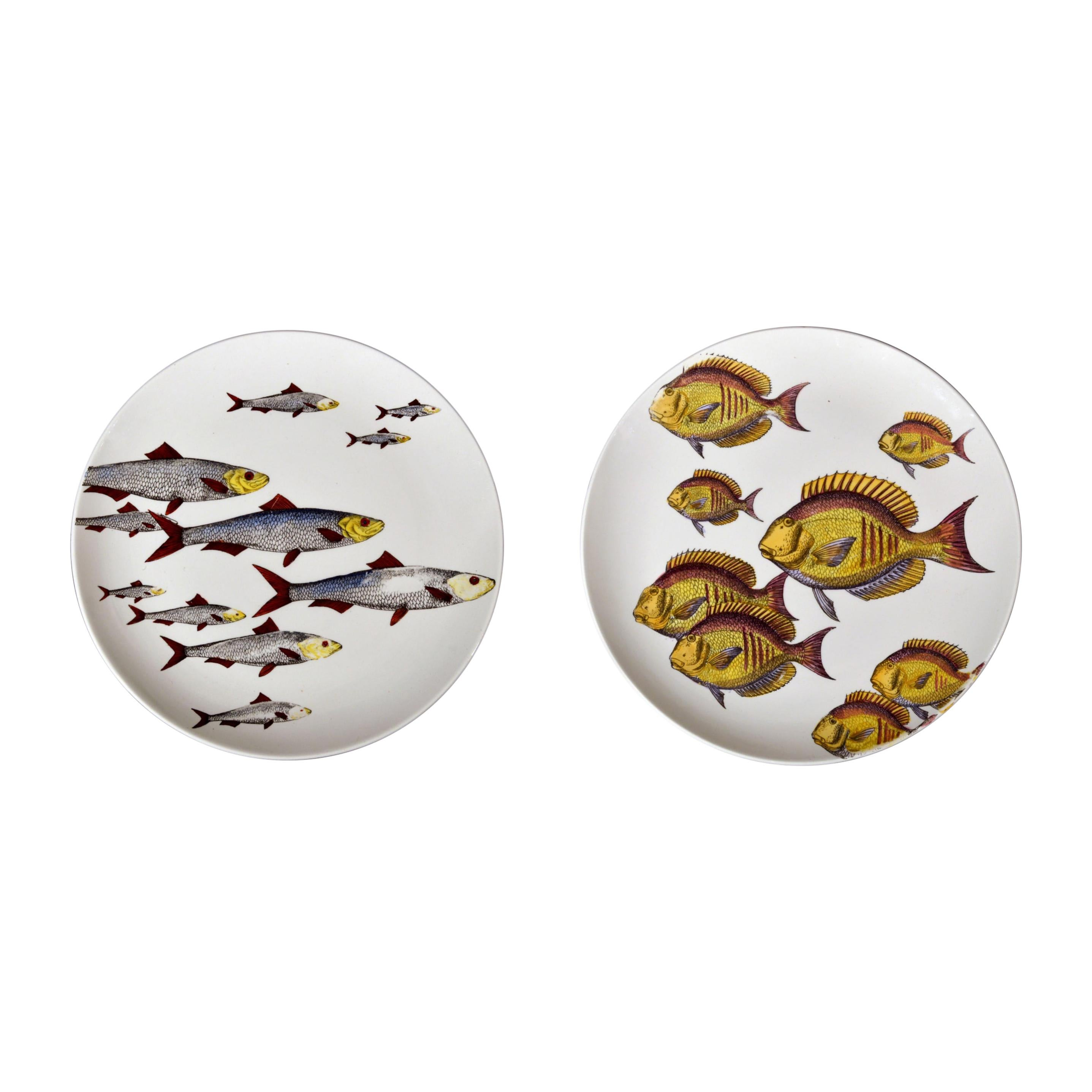 Pair of Rare Piero Fornasetti Fish Plates, Pesci Pattern or Passage of Fish