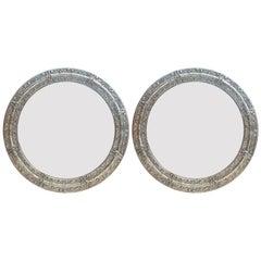 Pair of Rare Portuguese Embossed Alpaca Silver Circular 'Round' Mirror Frames