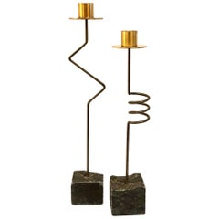 Pair of Rare Postmodern Brass, Wire and Slate Candlesticks