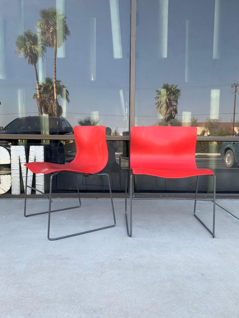 Modern Pair of Rare Red Handkerchief Chairs by Massimo Vignelli, 1985