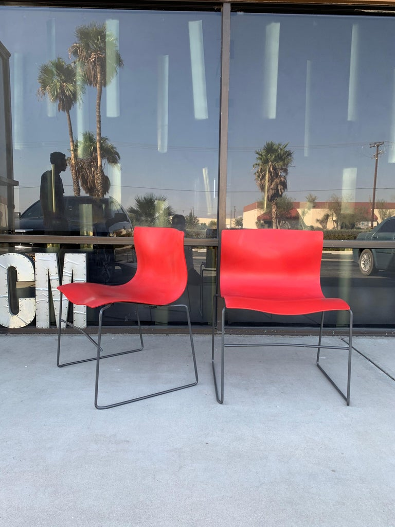 American Pair of Rare Red Handkerchief Chairs by Massimo Vignelli, 1985
