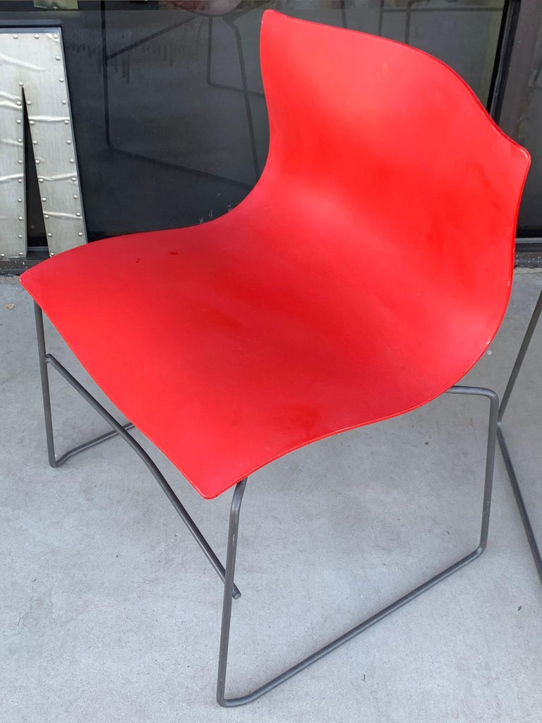 Other Pair of Rare Red Handkerchief Chairs by Massimo Vignelli, 1985