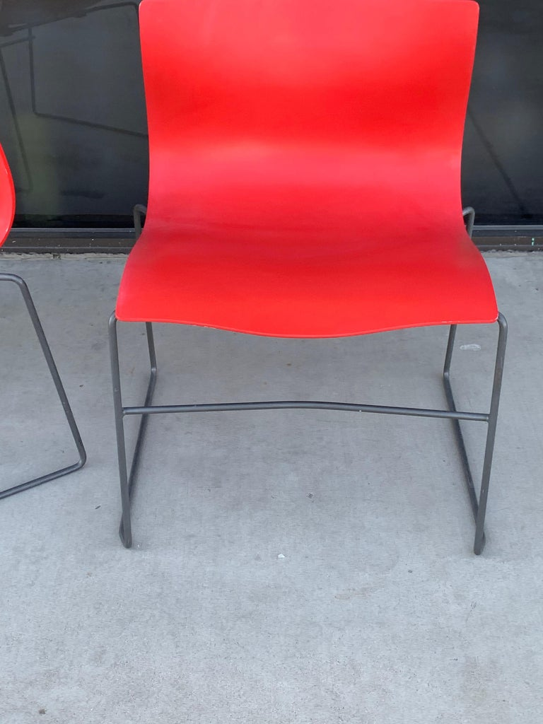 Late 20th Century Pair of Rare Red Handkerchief Chairs by Massimo Vignelli, 1985