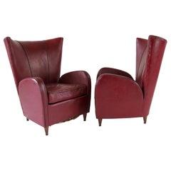 Pair of Rare Red Sky Palo Buffa Armchairs, 1950