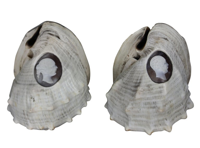 Pair of Rare Shell Cameos Depicting Queen Victoria and Prince Albert In Distressed Condition For Sale In London, GB