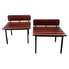 Pair of Rare Small Wood and Brass Benches with Backrest, Italy, 1960s