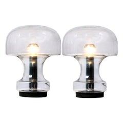 Pair of Rare Glass Mushroom Table Lamps by Limburg Glashutte, 1969