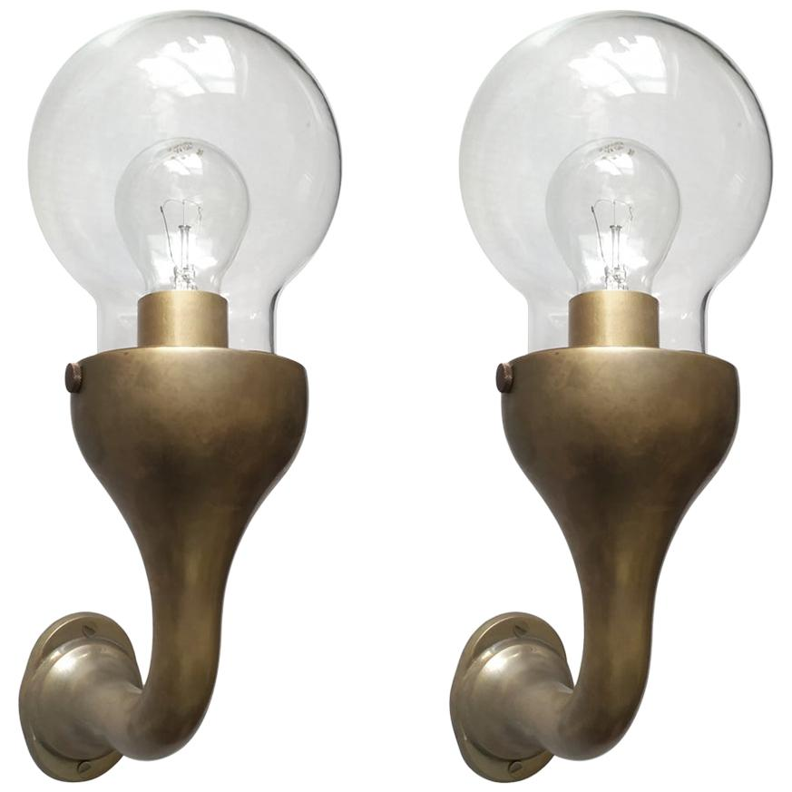 Pair of Rare Solid Brass a Glass Globes Sconces Wall Lamps, Germany