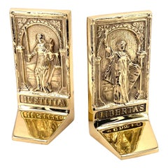 Pair of Rare Solid Brass Bookends Libertas & Justitia Set from 1996