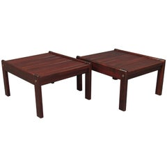 Pair of Rare Solid Brazilian Rosewood Ottomans / Stools Jean Gillon Attributed