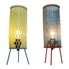 "Pair of Rare Space Age Josef Hurka ""rocket"" Lamps, 1960s"