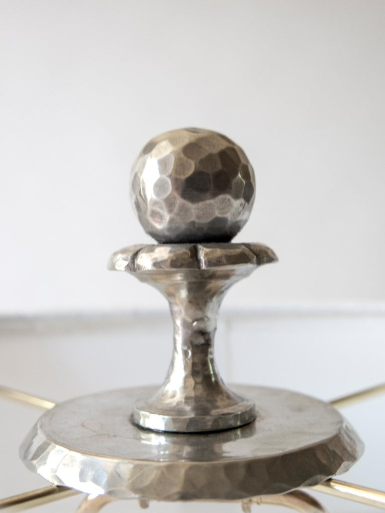 Art Deco Pair of Rare Swedish Hammered Pewter Barley-Twist Table Lamps For Sale