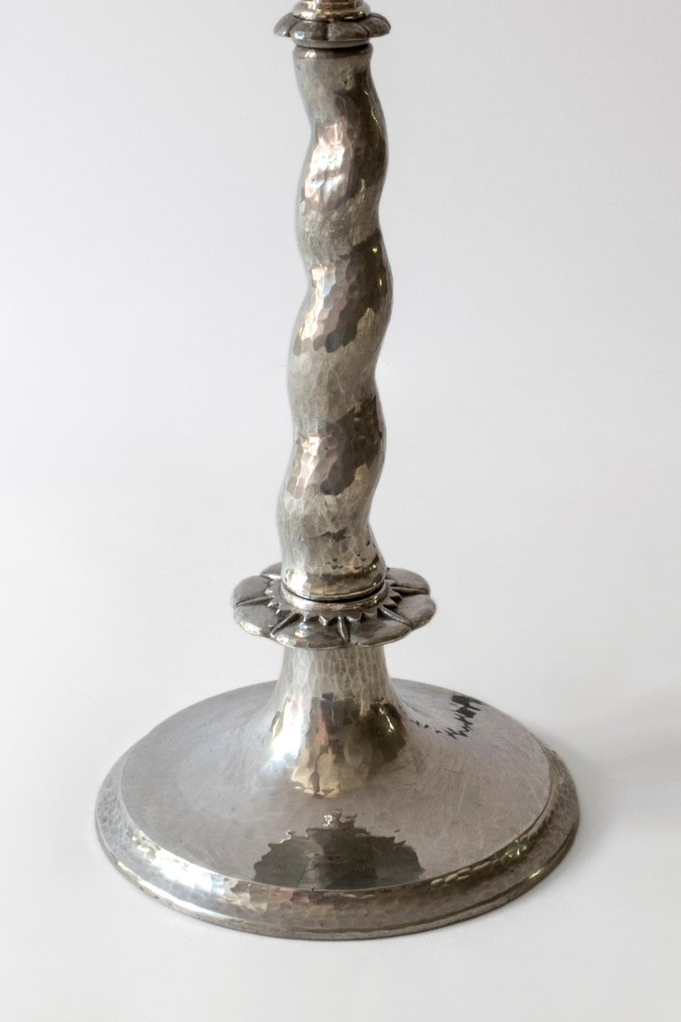 Pair of Rare Swedish Hammered Pewter Barley-Twist Table Lamps In Good Condition For Sale In Philadelphia, PA