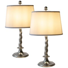 Pair of Rare Swedish Hammered Pewter Barley-Twist Table Lamps