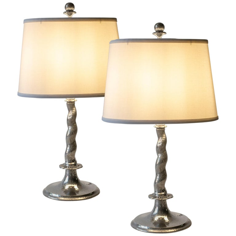 Pair of Rare Swedish Hammered Pewter Barley-Twist Table Lamps For Sale