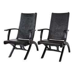 Pair of Rare Vintage Angel I. Pazmino for Muebles De Estilo Leather Armchairs